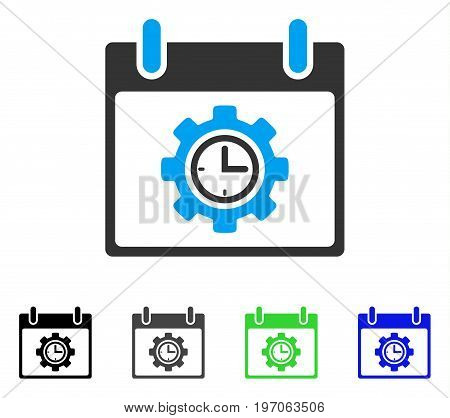 Time Gear Calendar Day flat vector pictogram. Colored time gear calendar day gray, black, blue, green pictogram versions. Flat icon style for graphic design.