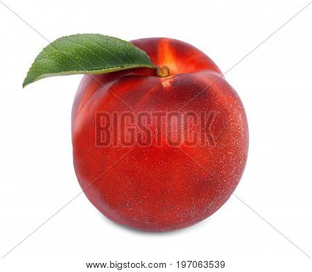 Close-up of a refreshing whole nectarine, isolated over the bright white background. A colourful, sweet, juicy  fruit. Nutritious healthful breakfast and snack.