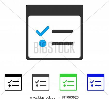 Todo Items Calendar Page flat vector icon. Colored todo items calendar page gray, black, blue, green icon variants. Flat icon style for application design.
