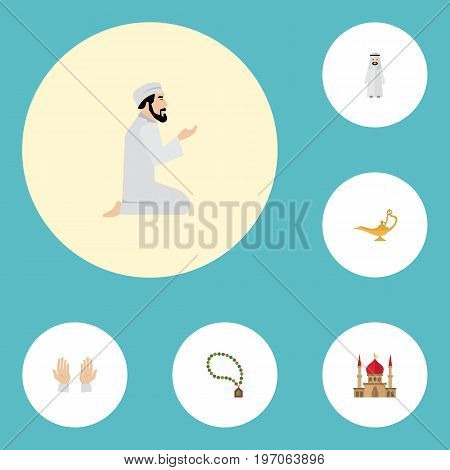Flat Icons Palm, Minaret, Bead And Other Vector Elements