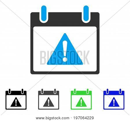 Warning Calendar Day flat vector pictogram. Colored warning calendar day gray, black, blue, green icon versions. Flat icon style for graphic design.