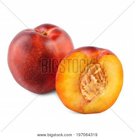 A whole and cut tasteful red nectarines close-up. Ripe, bright, refreshing fruits, isolated over a white background. Colourful and fresh fruits for healthy breakfast and summer snack.