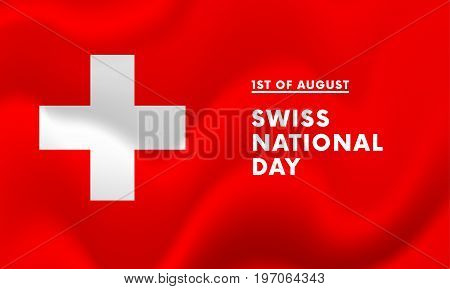 1st of August Swiss national day banner vector illustration
