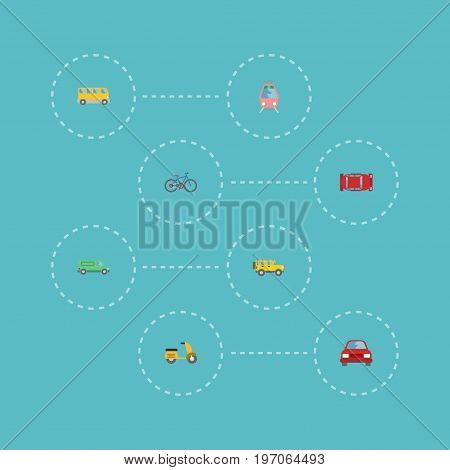 Flat Icons Streetcar, Bicycle, Carriage And Other Vector Elements