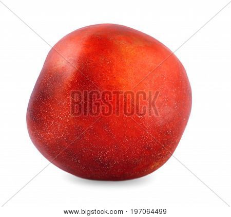 A single whole red peach, isolated over the white background. A close-up picture of natural delicious fruit. A colourful and fresh ripe fruit for healthy summer snack.