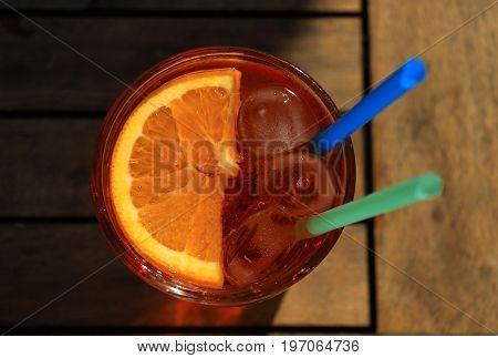 A glass of Aperol Spritz the refreshing Italian drink originating in Padova.