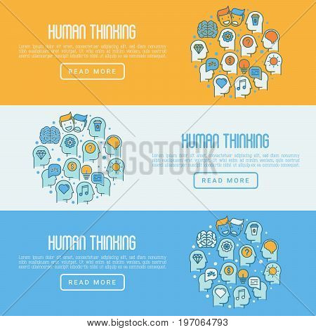Human thinking concept with thin line icons of head silhouette. Vector illustration for survey about human brain, web page of psychologist, print media.