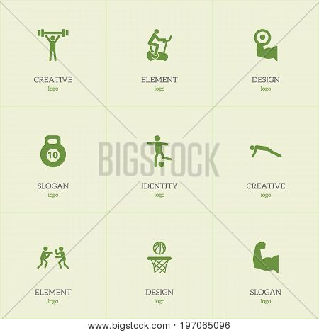 Set Of 9 Editable Sport Icons. Includes Symbols Such As Heavy Training, Training Bicycle, Basketball And More