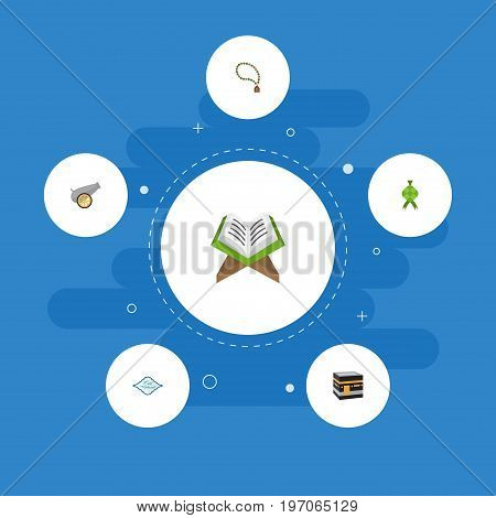 Flat Icons Arabic Calligraphy, Mecca, Holy Book And Other Vector Elements