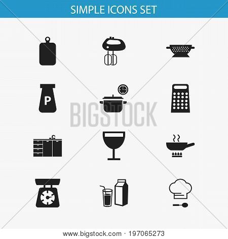 Set Of 12 Editable Kitchen Icons. Includes Symbols Such As Lactose, Food Libra, Drainer And More