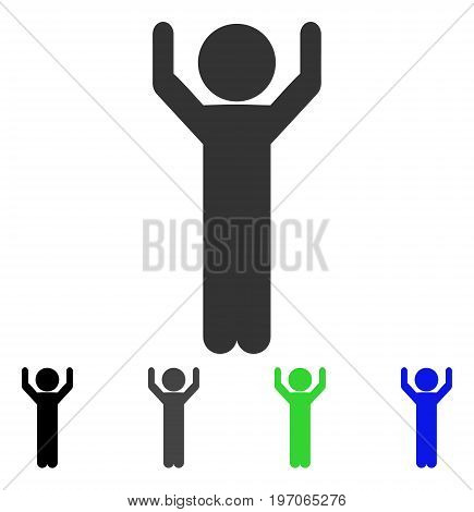 Child Hands Up flat vector pictogram. Colored child hands up gray, black, blue, green pictogram versions. Flat icon style for application design.