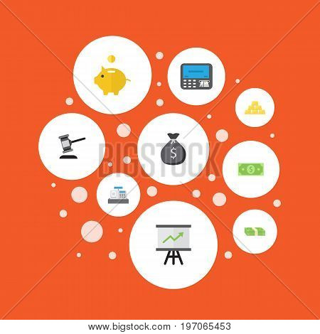 Flat Icons Money, Atm, Ingot And Other Vector Elements