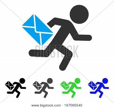 Child Mail Courier flat vector illustration. Colored child mail courier gray, black, blue, green pictogram versions. Flat icon style for application design.