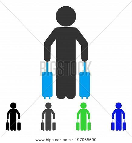 Child Passenger flat vector icon. Colored child passenger gray, black, blue, green pictogram variants. Flat icon style for application design.