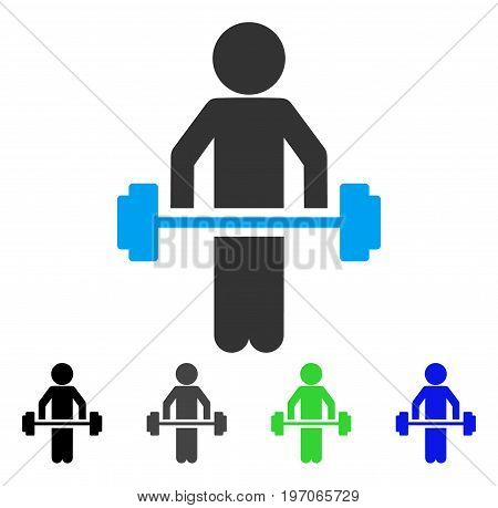 Child Power Lifting flat vector illustration. Colored child power lifting gray, black, blue, green pictogram variants. Flat icon style for application design.