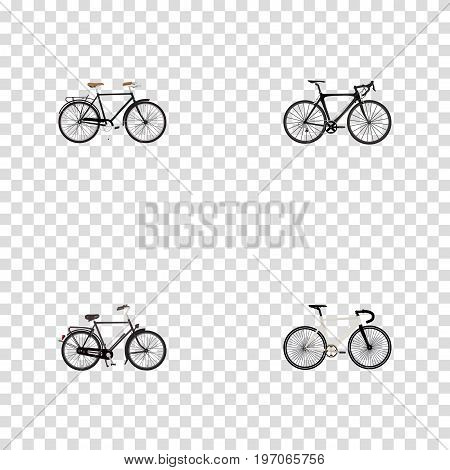 Realistic Fashionable, Exercise Riding, Road Velocity And Other Vector Elements