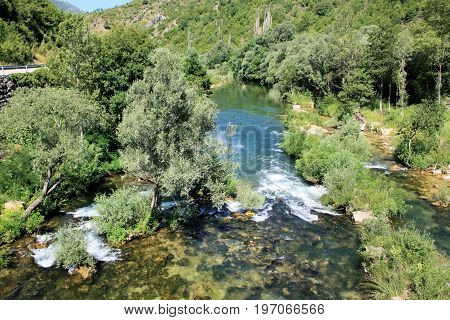 rapid on the Cetina river near Omis , Croatia
