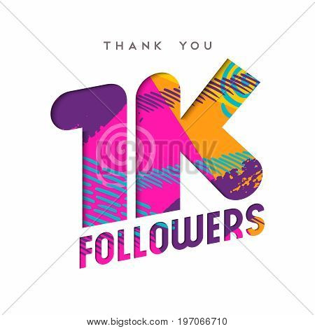 1K Social Media Follower Number Thank You Template