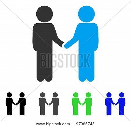 Children Handshake flat vector pictogram. Colored children handshake gray, black, blue, green pictogram versions. Flat icon style for web design.