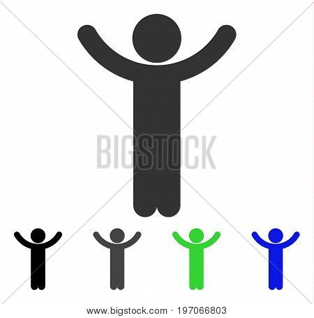 Hands Up Child flat vector icon. Colored hands up child gray, black, blue, green pictogram versions. Flat icon style for graphic design.