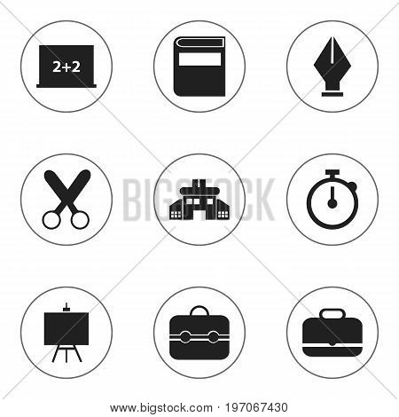 Set Of 9 Editable School Icons. Includes Symbols Such As Literature, Writing Board, Painter's Stand
