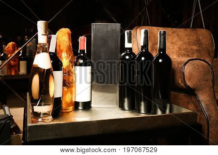 Bottles of wine on table at store