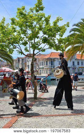 Street Musicians In Aveiro. Portugal