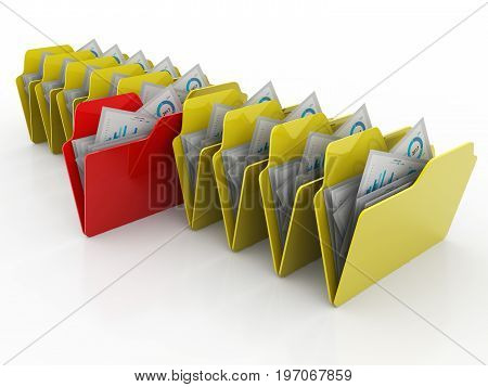 Folder. Open folder with papers 3d render