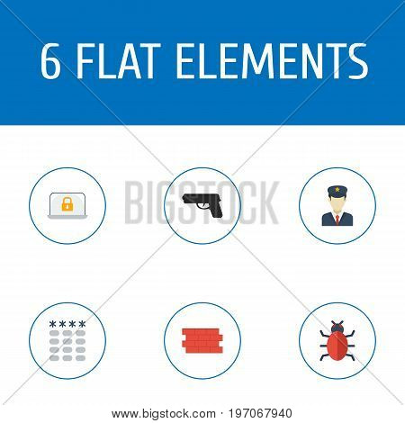 Flat Icons Keypad, Virus, Policeman And Other Vector Elements