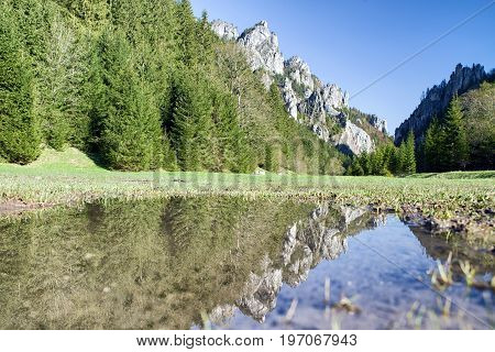 Hill reflection in water. Mala Fatra mountains Slovakia