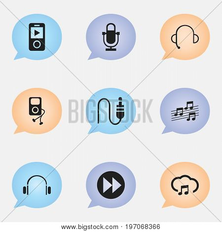 Set Of 9 Editable Audio Icons. Includes Symbols Such As Mp3 Player, Stereo Plug, Musical Sign And More