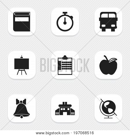 Set Of 9 Editable School Icons. Includes Symbols Such As Jingle, Transport Vehicle, Supervision List And More