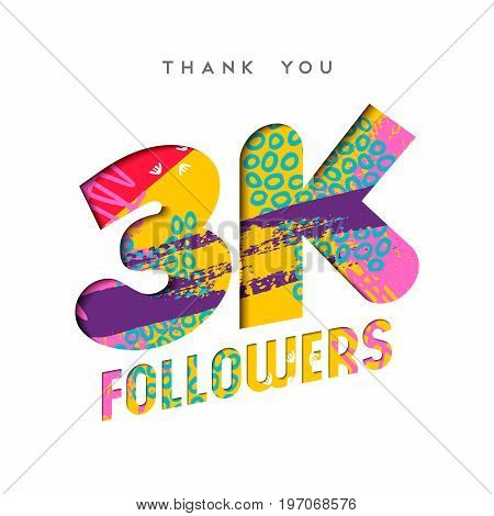 3K Social Media Follower Number Thank You Template
