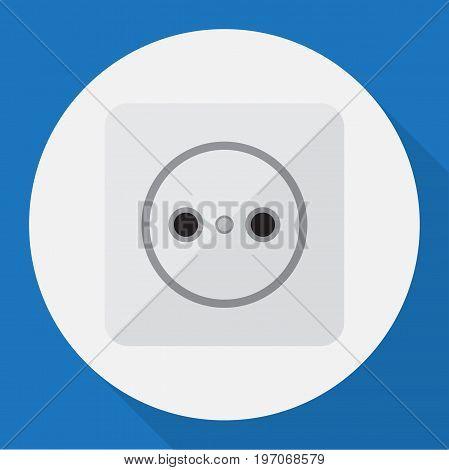 Vector Illustration Of Electric Symbol On Socket Flat Icon