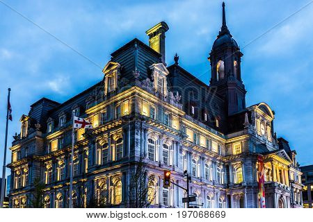 Montreal, Canada - May 27, 2017: Old Town Area With Hotel De Ville And Archive Museum On Street In D