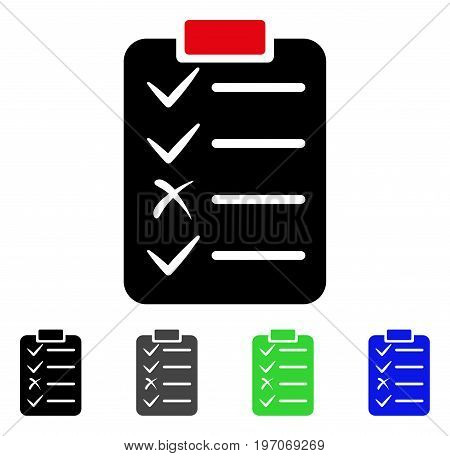 Task List flat vector pictogram. Colored task list gray, black, blue, green icon versions. Flat icon style for web design.