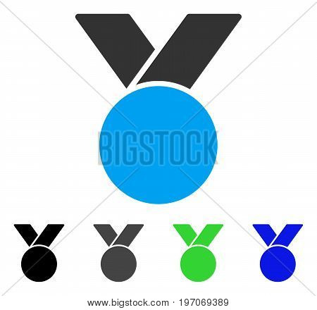 Army Medal flat vector pictograph. Colored army medal gray, black, blue, green pictogram variants. Flat icon style for graphic design.