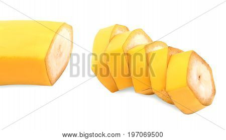 A refreshing and sweet banana isolated on a white background. An exotic yellow banana cut in perfect round slices. Tasteful ingredients for organic vegetarian meals and dieting.