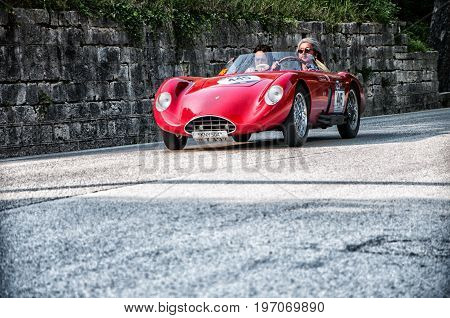 GOLA DEL FURLO, ITALY - MAY 19: BANDINI 750 SPORT INTERNAZIONALE 1957 on an old racing car in rally Mille Miglia 2017 the famous italian historical race (1927-1957) on May 19 2017