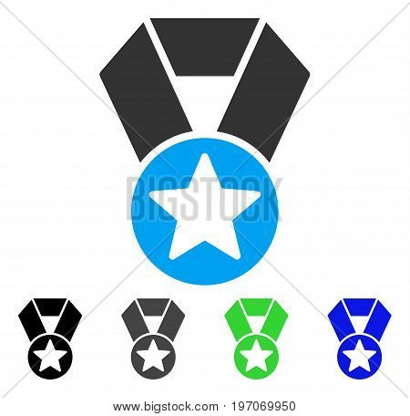 Champion Medal flat vector illustration. Colored champion medal gray, black, blue, green icon variants. Flat icon style for graphic design.