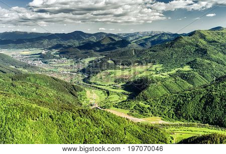Beautiful view from hill Hrdos (Ostre). Great Fatra mountains landscape. Town Ruzomberok at backround