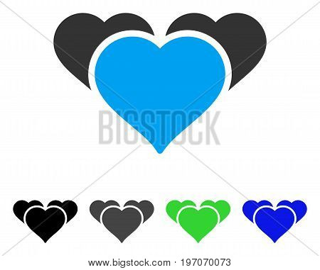 Favourite Hearts flat vector icon. Colored favourite hearts gray, black, blue, green pictogram versions. Flat icon style for graphic design.