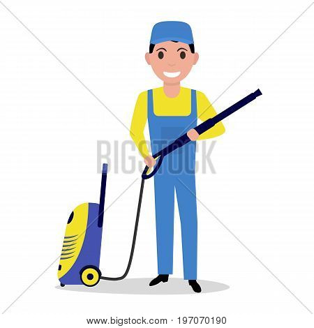 Vector illustration of a cartoon man holding a high pressure washer. Isolated white background. Flat style. Concept of a business washing service.