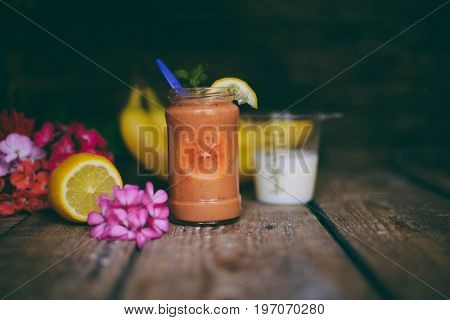Assorted Fruit Shakes On White Table. Smoothie Concept. Selection Of Colorful Smoothies On Rustic Wo