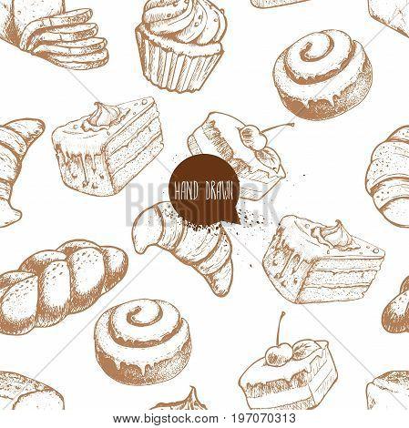Seamless vector pattern with bakery goods. Bread bun iced cinnamon bun cupcake cake and croissant.