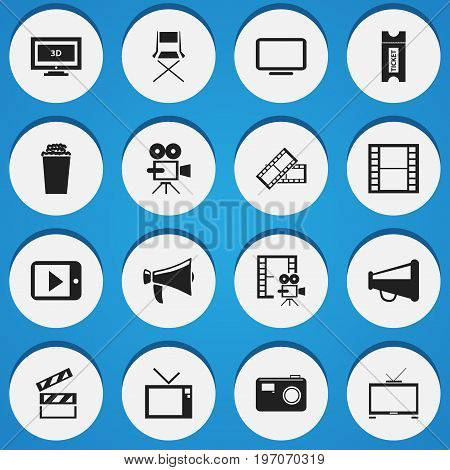 Set Of 16 Editable Movie Icons. Includes Symbols Such As Retro Television, Display Unit, Photographing And More