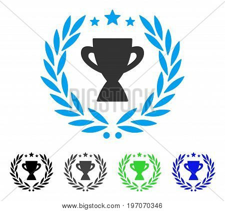 Glory Emblem flat vector pictogram. Colored glory emblem gray, black, blue, green pictogram variants. Flat icon style for graphic design.