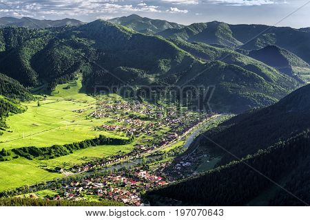 BEautiful view from hill Hrdos (Ostre). Great Fatra mountains landscape. Villages Hubova and Svosov at backround
