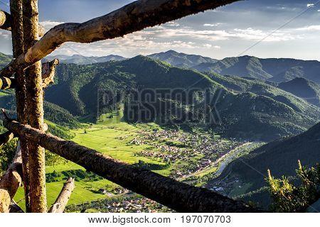 Slovak country from view point on hill Hrdos. Great Fatra mountains landscape. Villages Hubova and Svosov at backround