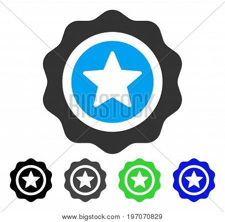 Reward Seal flat vector illustration. Colored reward seal gray, black, blue, green icon variants. Flat icon style for web design.